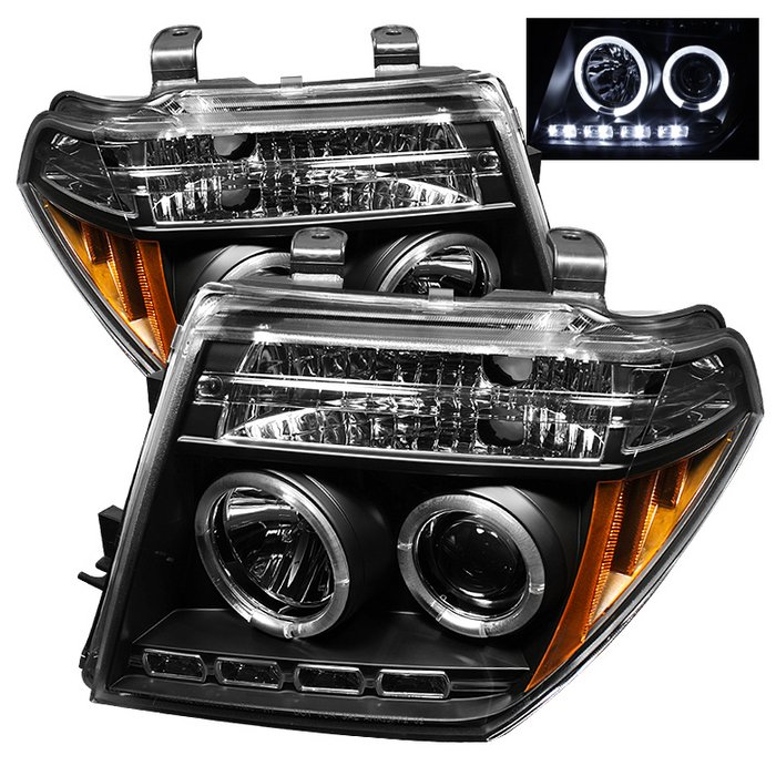 Spyder Halo LED Black Projector HeadLights Nissan Frontier 05-08 Pathfinder 05-07 - PRO-YD-NF05-HL-BK