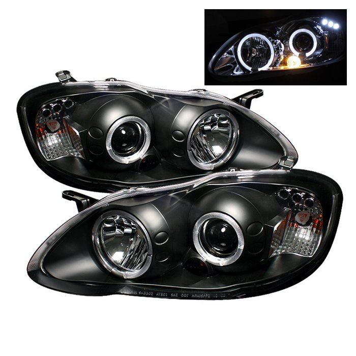 Spyder Halo Black Projector HeadLights Toyota Corolla 03-08