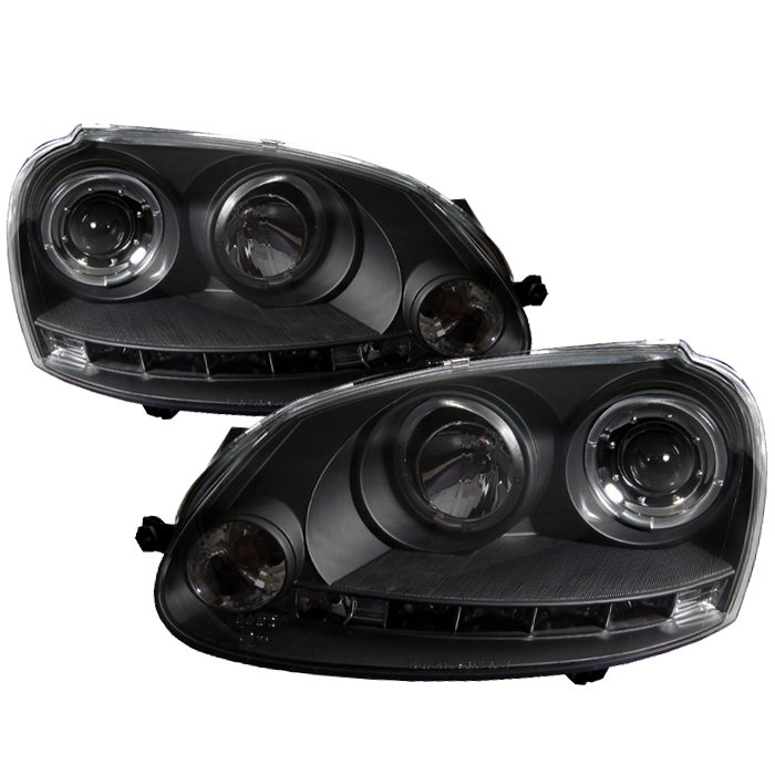 Spyder Halo LED Black Projector HeadLights Volkswagen GTI 06-08 Jetta 06-08 Rabbit 06-08 - PRO-YD-VG06-HL-BK