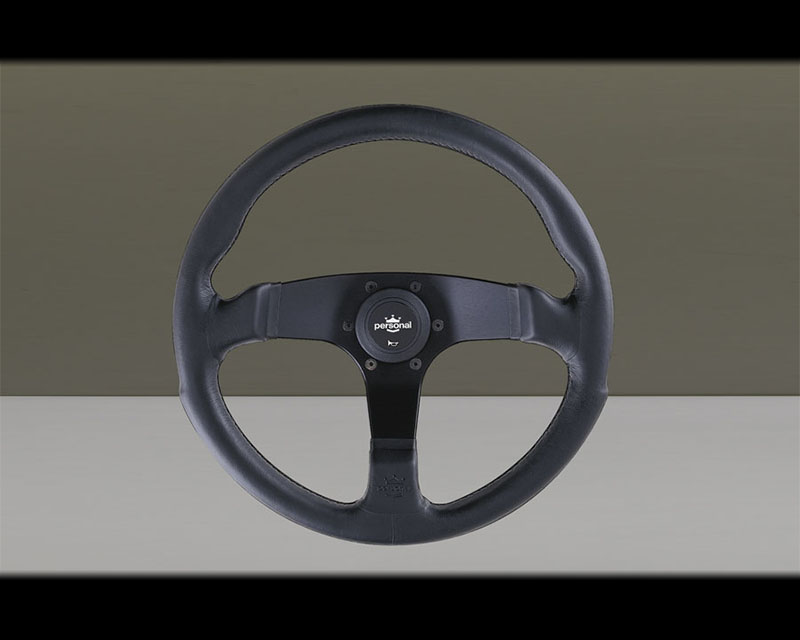 PERSONAL Fitti E3 Steering Wheel - Black Stitched Black Leather Grip with Silver Horn Logo Button & Black Coated Aluminum Spoke - PSN-6408-35-2071