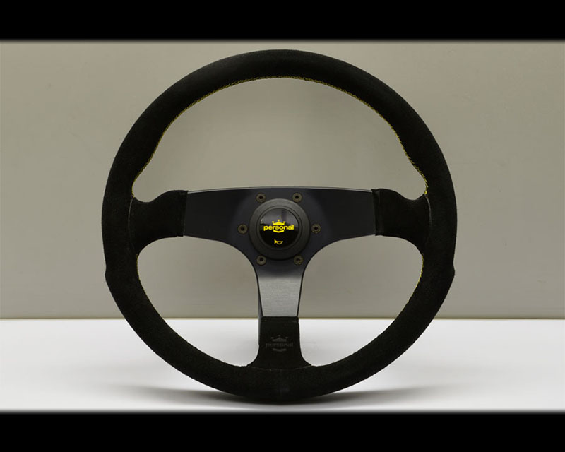 PERSONAL Fitti Corsa Steering Wheel - Yellow Stitched Black Suede Grip with Black Coated Aluminum Spoke - PSN-6408-35-2094