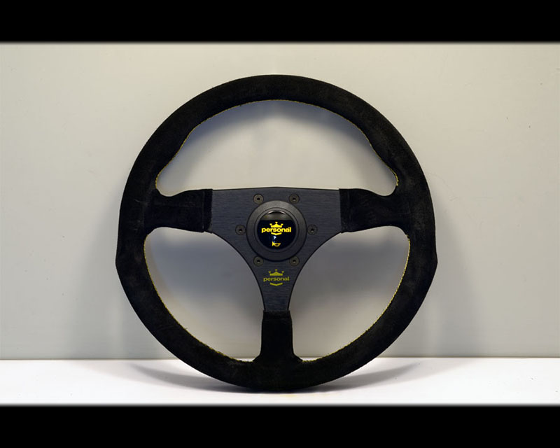 PERSONAL Fitti F1 Suede (no drill) Steering Wheel - Yellow Stitched Black Suede Grip with Black Coated Aluminum Spoke - PSN-6417-32-2081