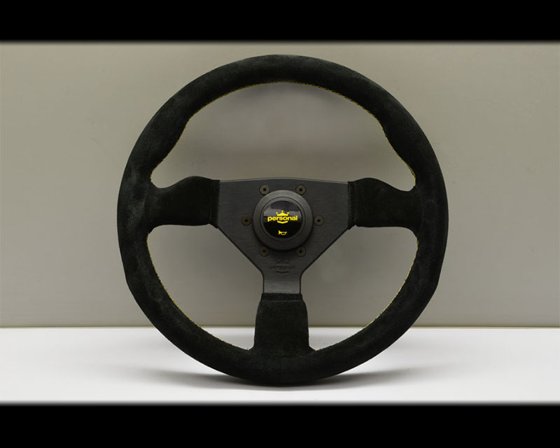 PERSONAL Grinta Steering Wheel - Yellow Stitched Black Suede Grip with Black Coated Aluminum Spoke 12.99 Inch Diameter - PSN-6430-33-2092