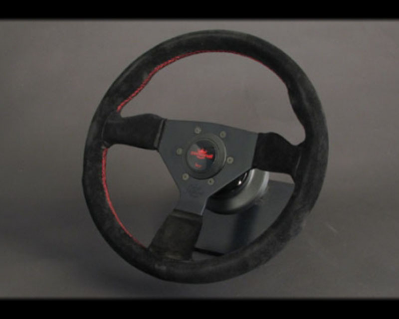 PERSONAL Grinta Steering Wheel - Red Stitched Black Suede Grip with Black Coated Aluminum Spoke 12.99 Inch Diameter - PSN-6497-33-2094