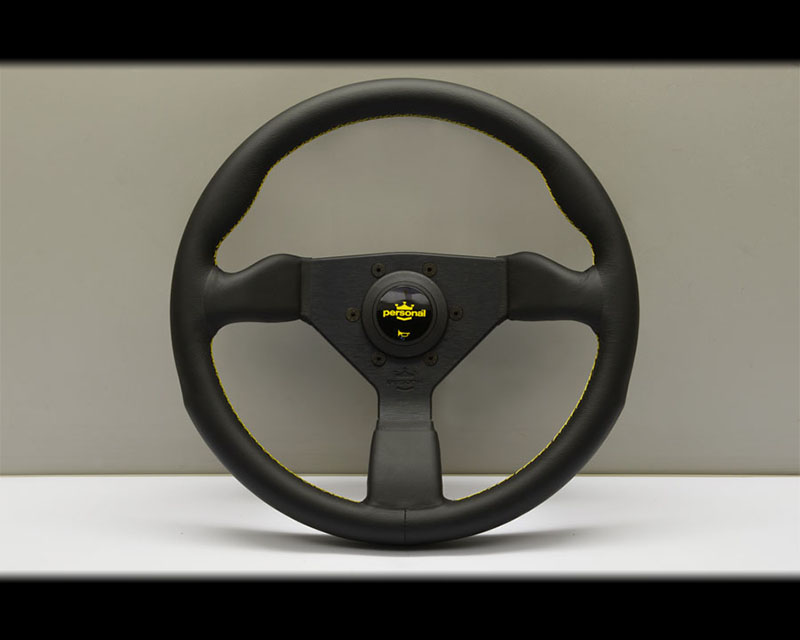 PERSONAL Grinta Steering Wheel - Yellow Stitched Black Leather Grip with Black Coated Aluminum Spoke 12.99 Inch Diameter - PSN-6430-33-2095