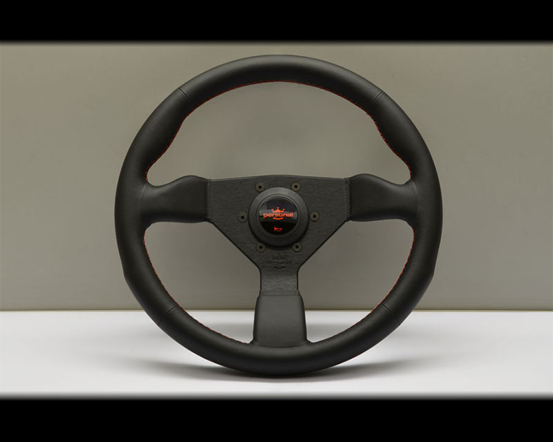 PERSONAL Neo Grinta Steering Wheel - Red Stitched Black Leather Grip with Black Coated Aluminum Spoke 12.99 Inch Diameter - PSN-6497-33-2090