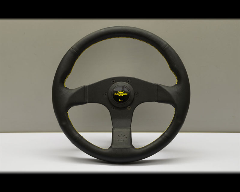 PERSONAL Neo Actis Steering Wheel - Yellow Stitched Black Leather Grip with Black Coated Aluminum Spoke 12.99 Inch Diameter - PSN-6498-33-2090