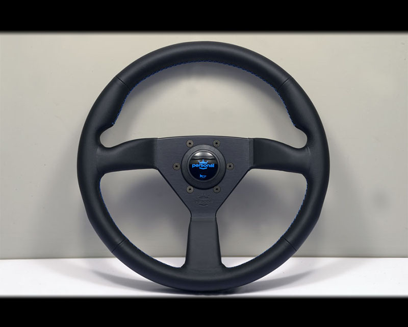 PERSONAL Neo Eagle Steering Wheel - Blue Stitched Leather Grip with Black Coated Aluminum Spoke - PSN-6499-34-2090