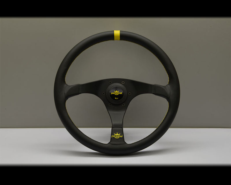 PERSONAL Trophy Steering Wheel - Yellow Stitched Black Leather Grip with Black Coated Aluminum Spoke - PSN-6518-35-2071