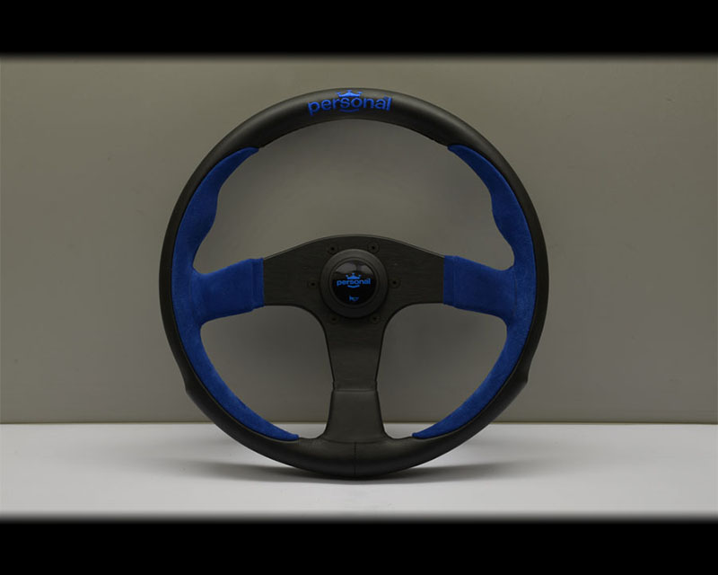 PERSONAL Pole Position Steering Wheel - Blue Stitched Black Leather & Blue Suede Grip with Black Coated Aluminum Spoke 12.99 Inch Diameter - PSN-6521-33-2003