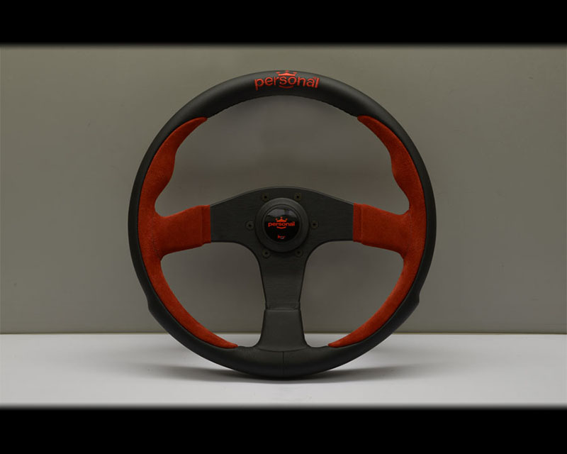 PERSONAL Pole Position Steering Wheel - Red Stitched Black Leather & Red Suede Grip with Black Coated Aluminum Spoke 12.99 Inch Diameter - PSN-6521-33-2011