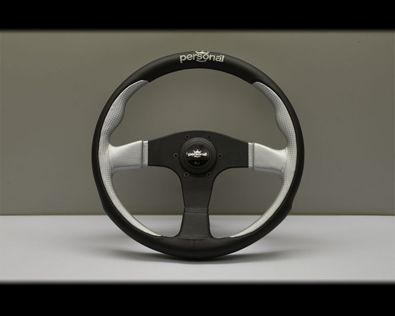 PERSONAL Pole Position Steering Wheel - Yellow Stitched Black Leather & Inox Silver Leather Grip with Black Coated Aluminum Spoke 12.99 Inch Diameter - PSN-6521-33-2013