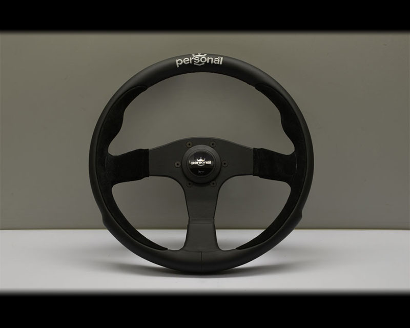 PERSONAL Pole Position Steering Wheel - Yellow Stitched Black Leather & Black Suede Grip with Black Coated Aluminum Spoke 12.99 Inch Diameter - PSN-6521-33-2091