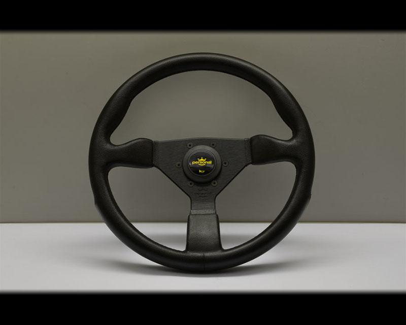 PERSONAL Grinta PU Steering Wheel - Black Polyurethane Grip Yellow Logo Horn Button & Black Coated Aluminum Spoke - PSN-8430-35-2001