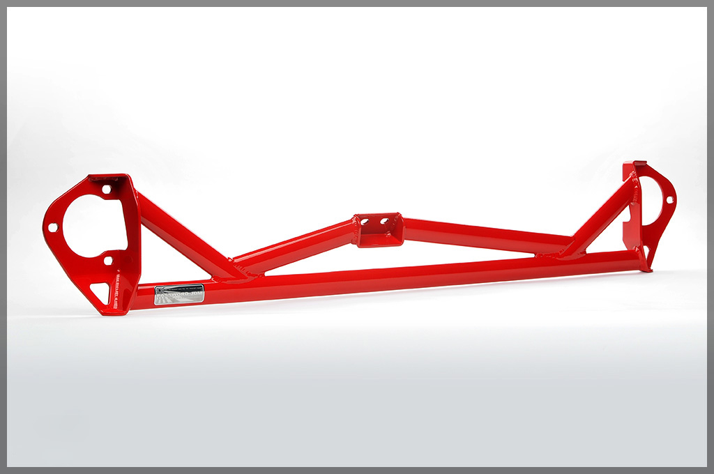 Image of Password JDM 5 Point Front Strut Tower Bar Brushed Red Mitsubishi EVO X 08-13