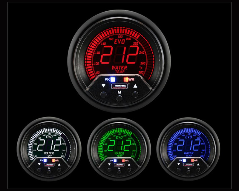 Prosport Performance Premium Water Temp 4 Color with Sender Peak | Warn Mitsubishi Evolution 92-07 - 238EVOWT-PK.F