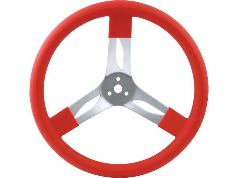 Quickcar Racing Products 15 inches Steering Wheel Alum Red - QRP68-0011