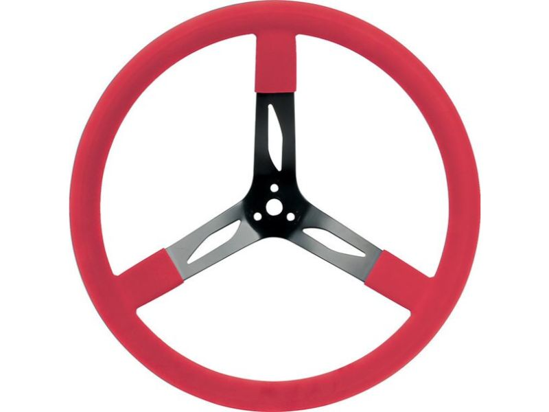 """Quickcar Racing Products Red 17"""" Steel Steering Wheel - QRP68-0041"""