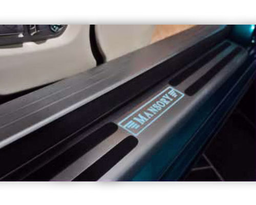 Mansory 2 Part Illuminated Sill Plates Carbon Fiber | Blue Illuminated Logo Rolls Royce Wraith  - RR4 395 355