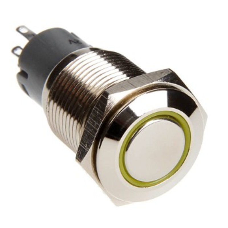 Race Sport Lighting Yellow 16mm LED 2-Position On/Off Switch Chrome Finish - RS-2P16MM-LEDY