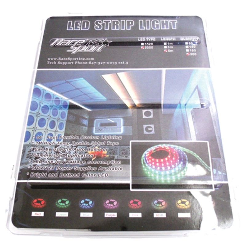 Race Sport Lighting 16.0 feet  110V 20-Color RGB Multi-Color 5050 LED Strip with Remote - RS-5M-5050-RGB-110V