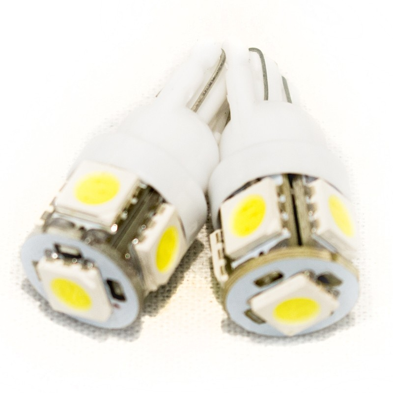 Race Sport Lighting White LED Auto Replacement Bulbs 5050 Diode Technology Pair - RS-T10-W-5050