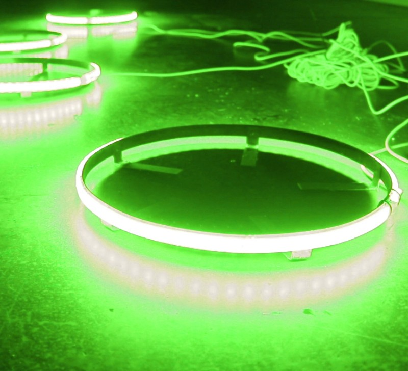 Race Sport Lighting Green ColorClear  15 Inch LED Wheel Kit Set of 4 - RS15G