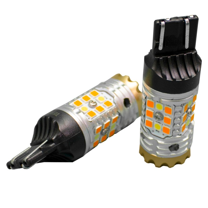 Race Sport Lighting White-Amber 7443 No-Rapid Flash Canbus Turn signal LED Bulbs Switchback 1,860 Lumens Epistar 3030 Pair - RS7443SBWA