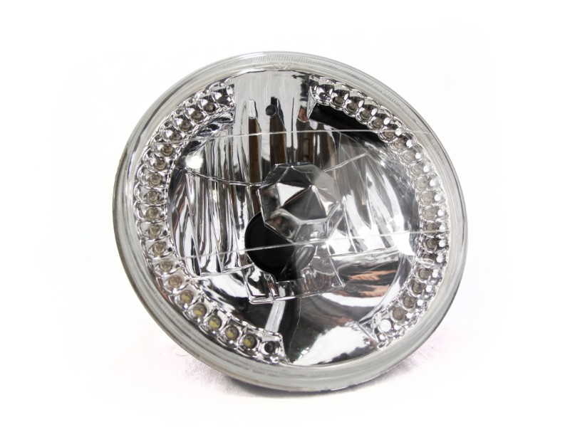 Race Sport Lighting 7 Inch Diamond Cut H4 Conversion lens with Recessed LED Halo (White) Individual - RS7RH4LED-W