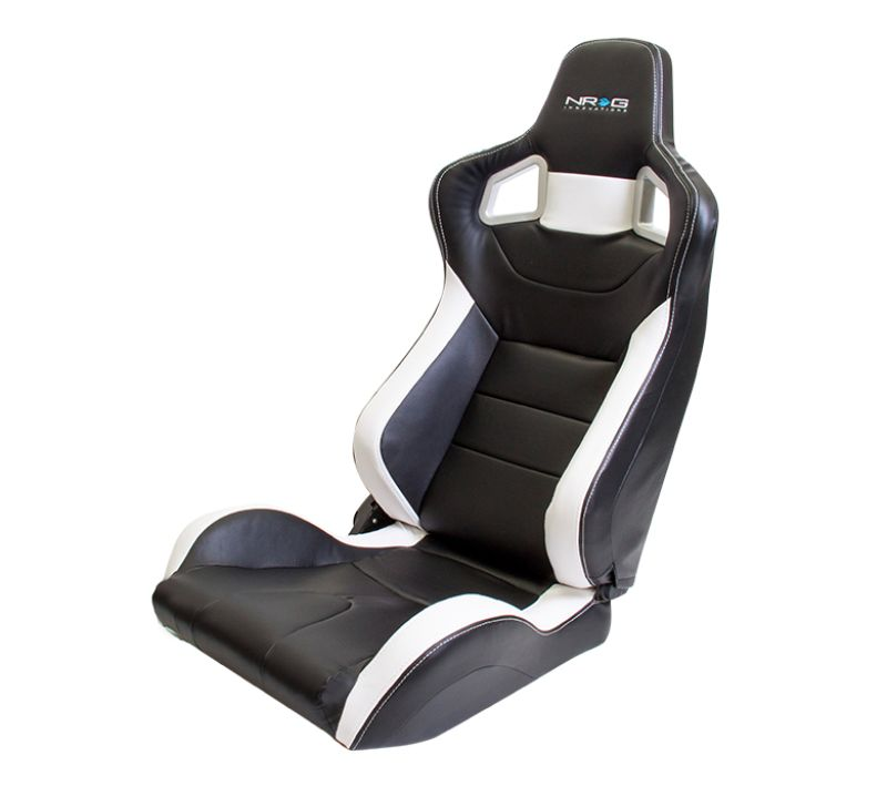 NRG Reclinable Sport Seat Black PVC Leather with White Stitching - RSC-700L/R
