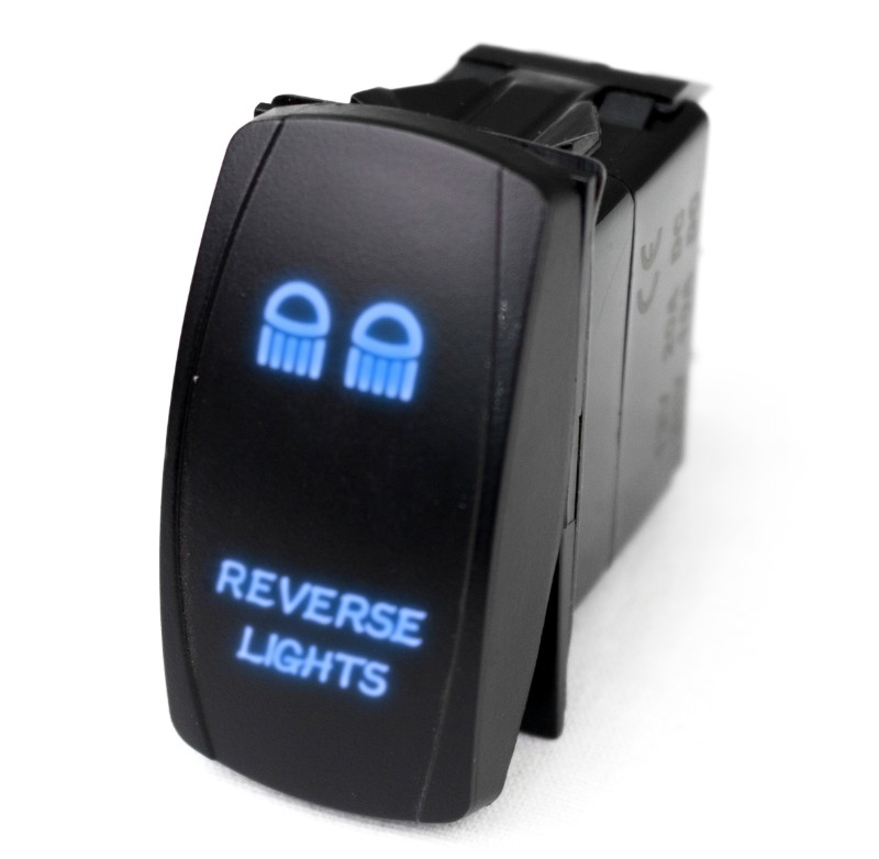 Race Sport Lighting LED Rocker Switch with Blue LED Radiance (Reverse Lights) - RSLE22B