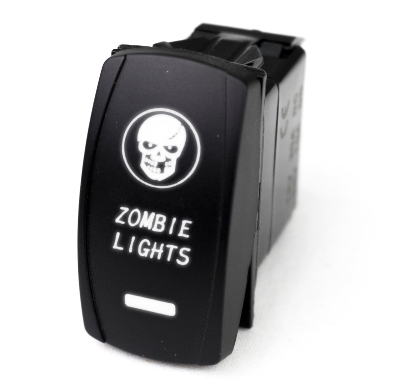 Race Sport Lighting LED Rocker Switch with White LED Radiance (Zombie Lights) - RSLE35W