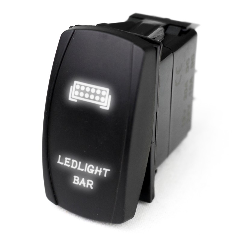 Race Sport Lighting LED Rocker Switch with White LED Radiance (LED Light Bar) - RSLJ34B