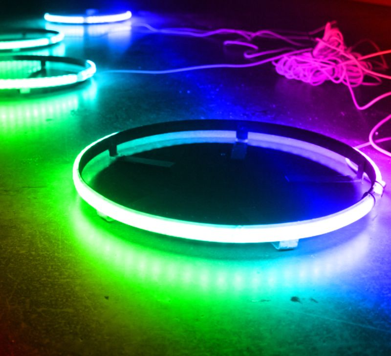 Race Sport Lighting 2-Row Race Sport  ColorADAPT  14 Inch LED Wheel Kit in RGB Multicolor - Comes with 4 mounting rings recessed with IP68 RGB LED's - RSRGB142R