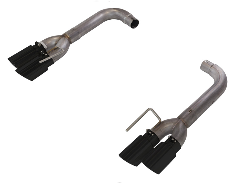 Axle Back Exhaust 18 Mustang GT Split Rear Quad Exit 3 in Quad 304 Stainless Steel Black Coated Tips Incl Hardware/Muffler DeletePypes Exhaust - SFM88MSB