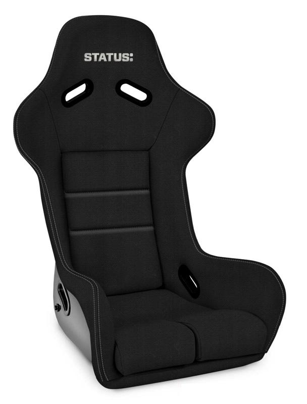 Ring GT-X Black FRP Composite Seat Xcel Black W/White Logo Status Racing - SRGTXF-260