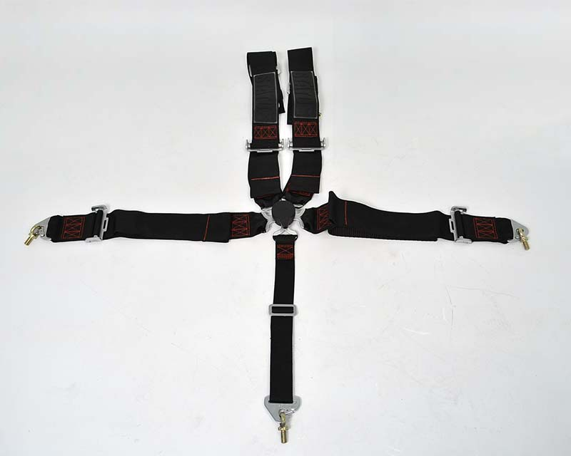 Image of Status Racing 3 Inch 5 Point Cam Lock Harness Kit Black with Red Stitching - FIA Approved