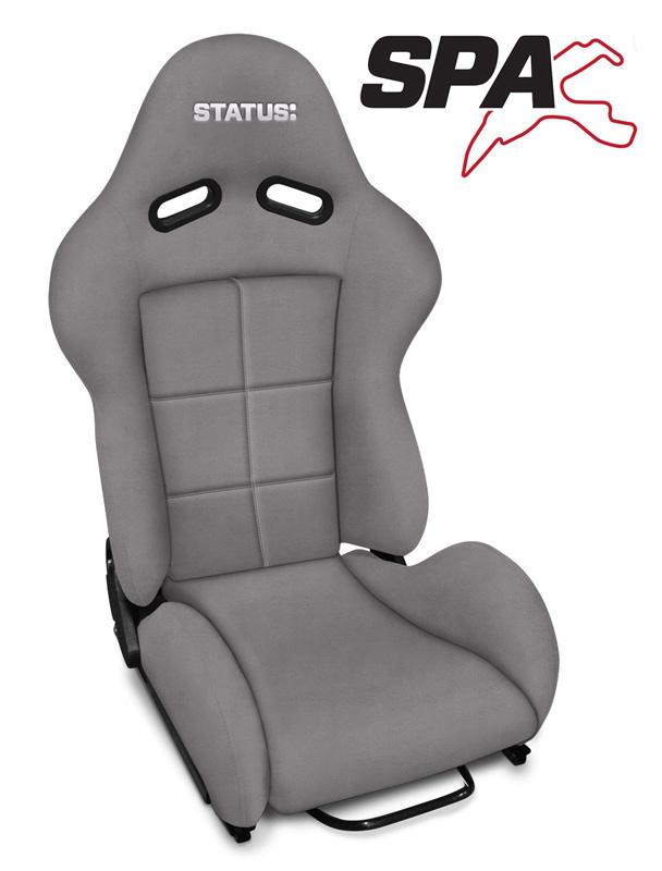 SPA Carbon Fiber Reclining Seat Light Grey Suede Status Racing - SRSPA-243