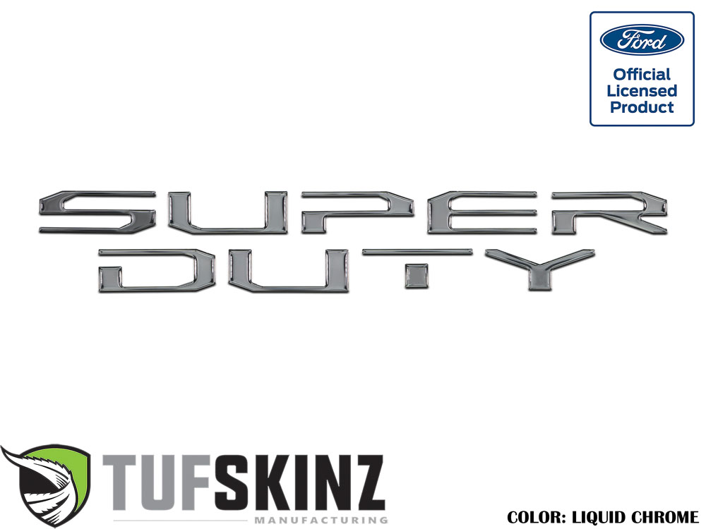 Tufskinz SUP008-DC-G Hood Inserts Fits 2017-2021 Ford Super Duty 10 Piece Kit in Liquid Chrome