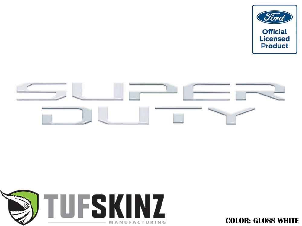 Tufskinz SUP008-WHT-G Hood Inserts Fits 2017-2021 Ford Super Duty 10 Piece Kit Gloss White