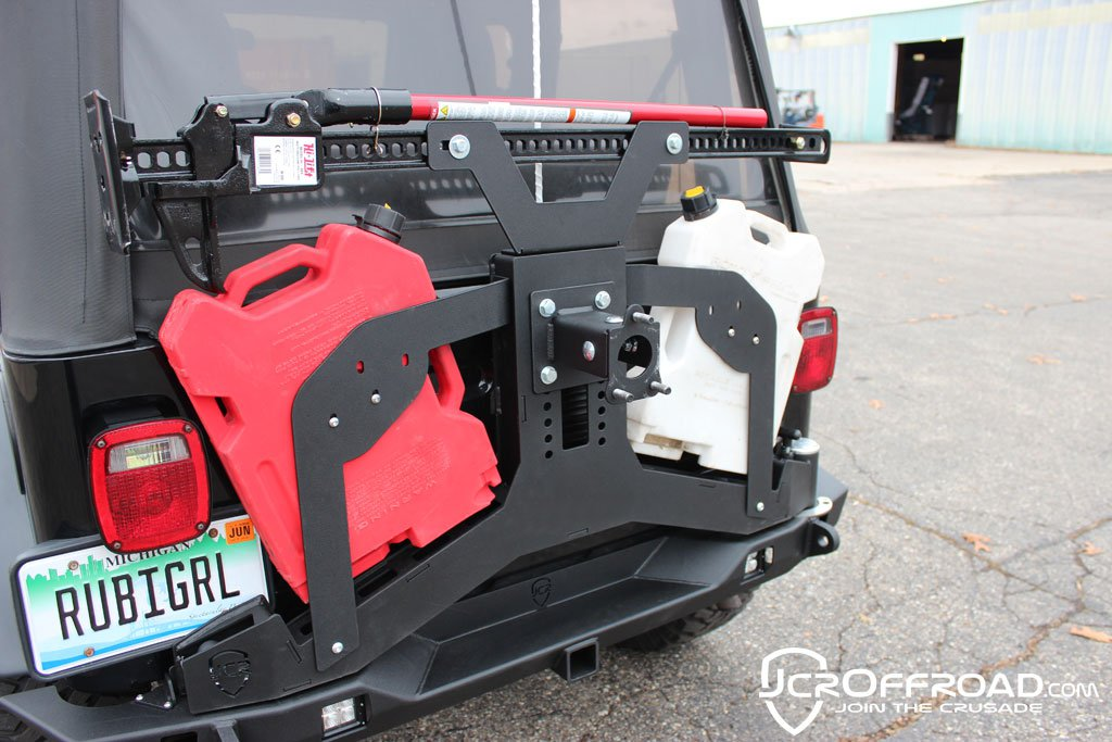 CJ7 Tire Carrier Rear Bumper Upper Adventure Powder Coat JCR Offroad - SWBAC-PC