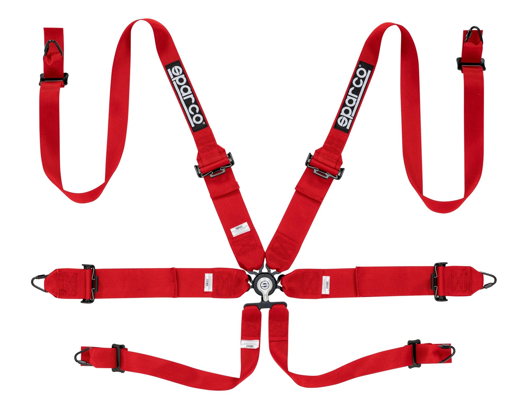 "Sparco Red 3""/2"" Steel 6pt Hans Harness - 04818RHRS"