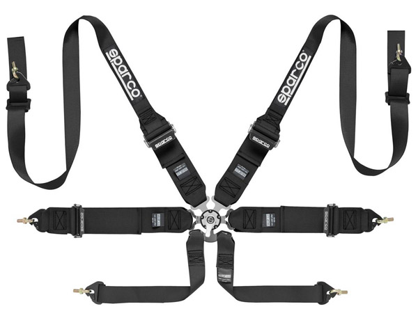 Sparco Competition 6-Point Harness HANS Compatible Black - 04837RHNR