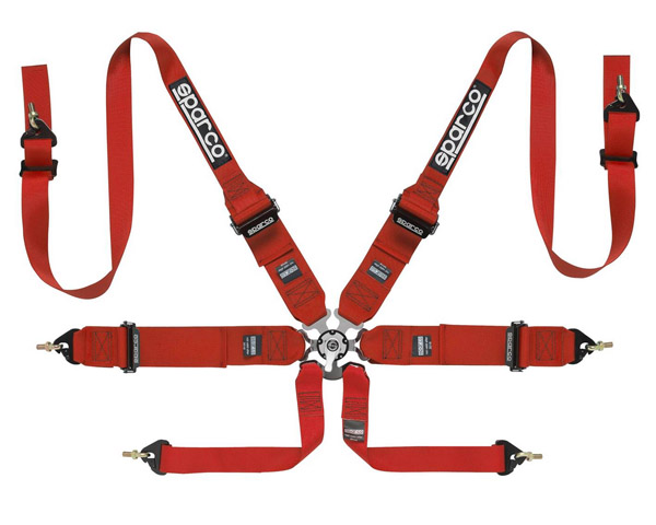 Sparco Competition 6-Point Harness HANS Compatible Red - 04837RHRS