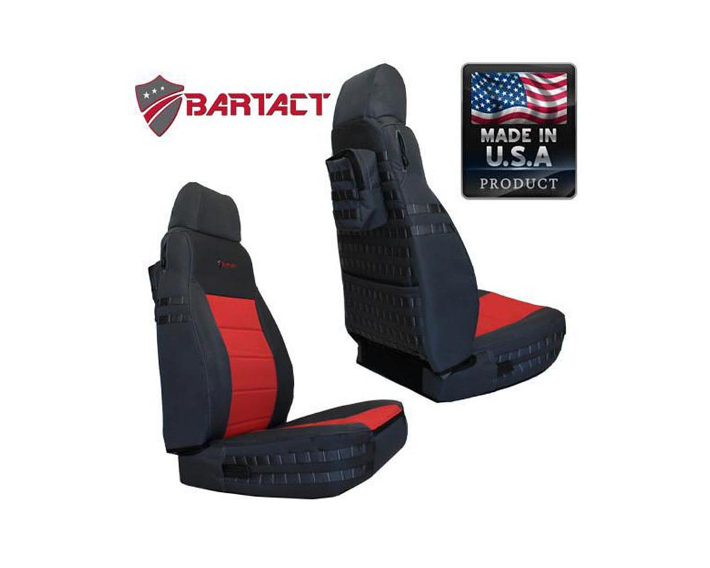 Bartact Black/Black Tactical Series Front Seat Covers Jeep Wrangler TJ 2003-2006 - TJSC0306FPBB