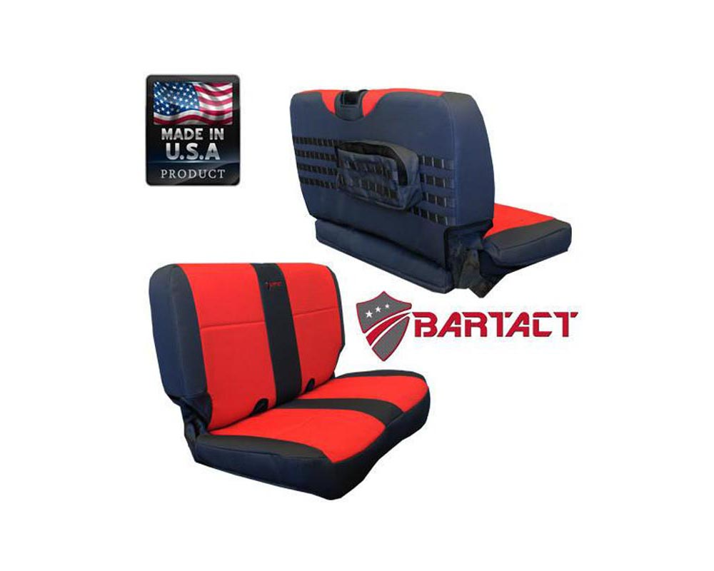 Bartact Black/Black Tactical Series Rear Bench Seat Covers Jeep Wrangler TJ 2003-2006 - TJSC0306RBBB