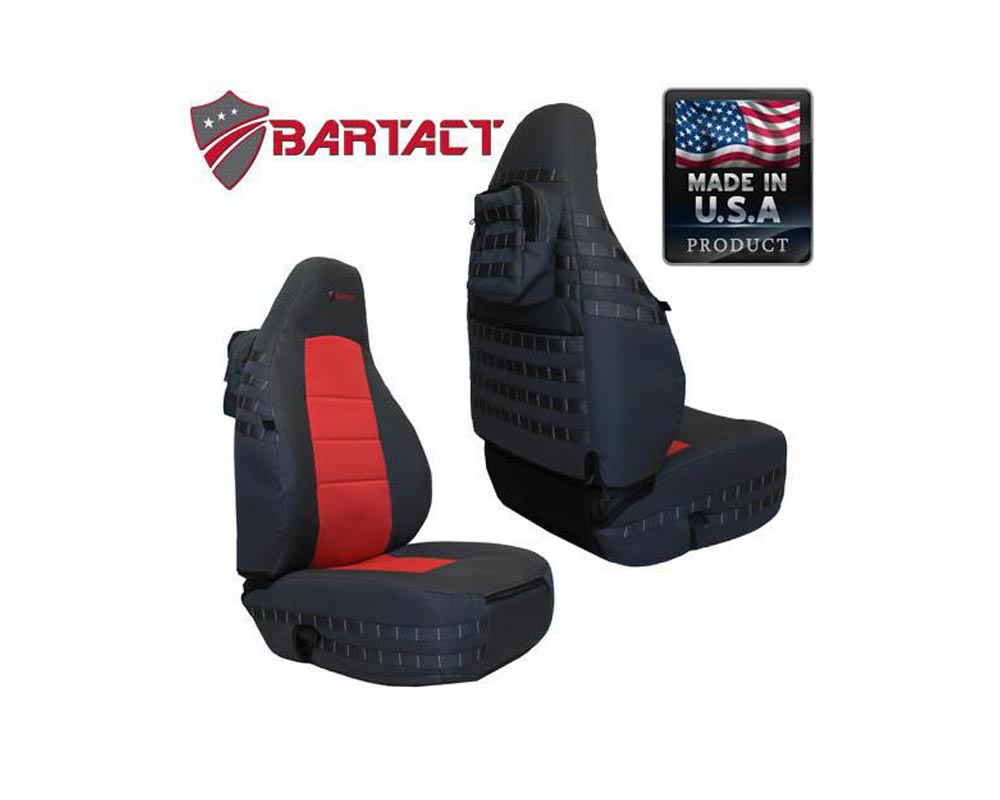 Bartact Black/Red Tactical Series Front Seat Covers Jeep Wrangler TJ 1997-2002 - TJSC9702FPBR