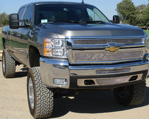 T-Rex Grilles Upper Class Small Mesh Stainless Polished Grille Chevrolet Silverado HD 07-10 - 54112
