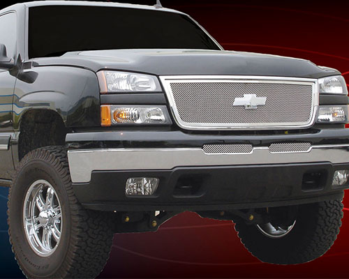 T-Rex Grilles Upper Class Small Mesh Stainless Polished Bumper Grille Chevrolet Silverado 03-06 - 55103