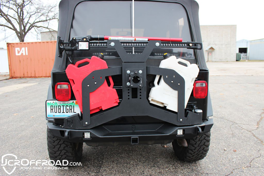 Adventure Tire Carrier Hi-lift Mount 76-17 Jeep Wrangler TJ/YJ/CJ7/JK Powdercoat JCR Offroad - UNVAHLM2-PC